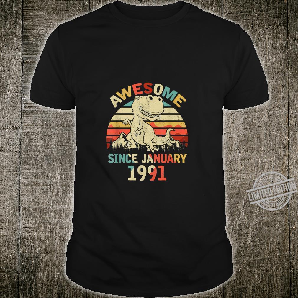 Awesome Since JANUARY 1991 29th Dinosaur Birthday Shirt