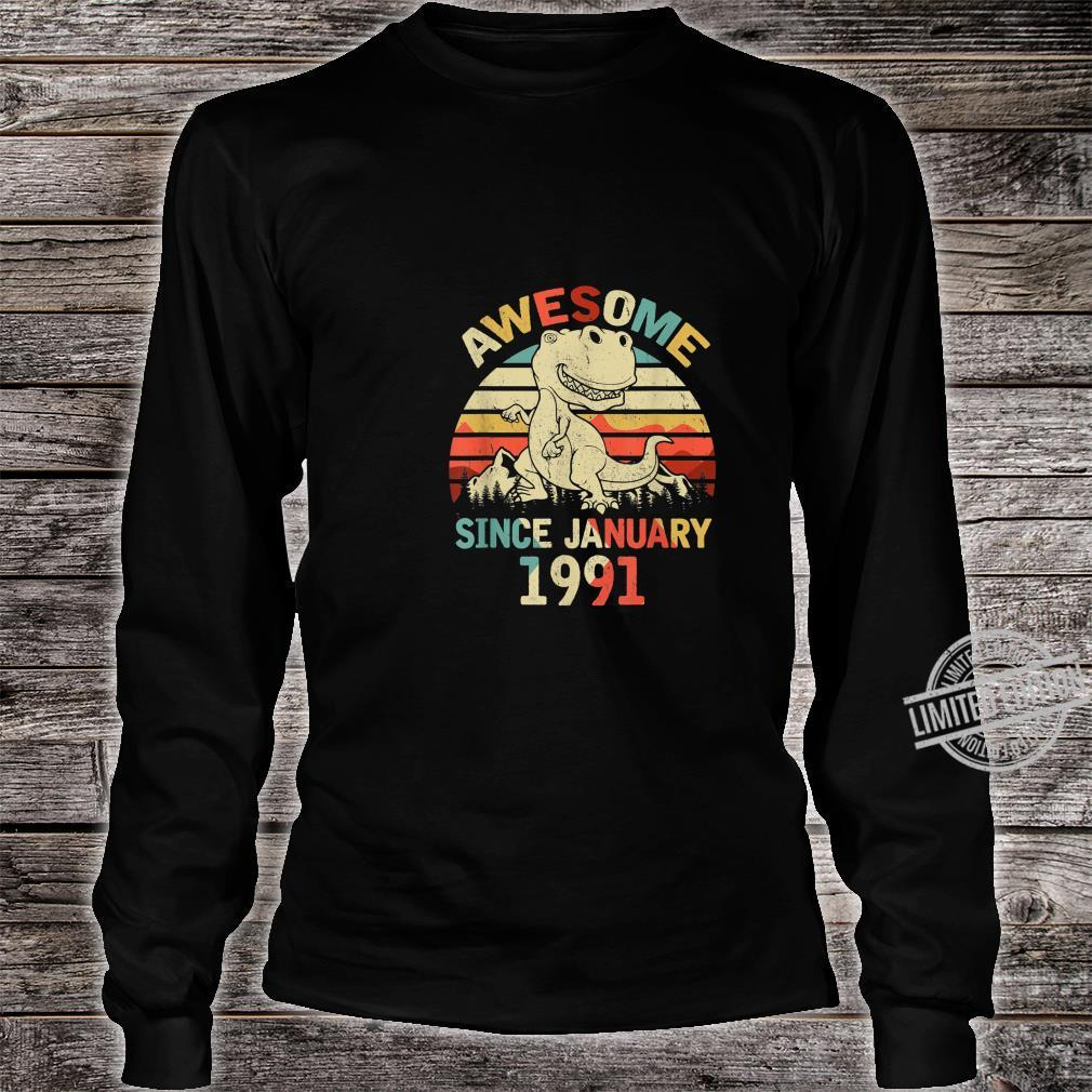 Awesome Since JANUARY 1991 29th Dinosaur Birthday Shirt long sleeved
