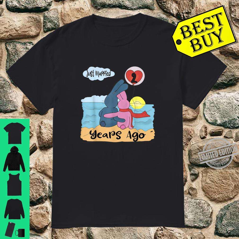 Just Married 2 Years Ago 2nd Anniversary Couple Bunnies Shirt