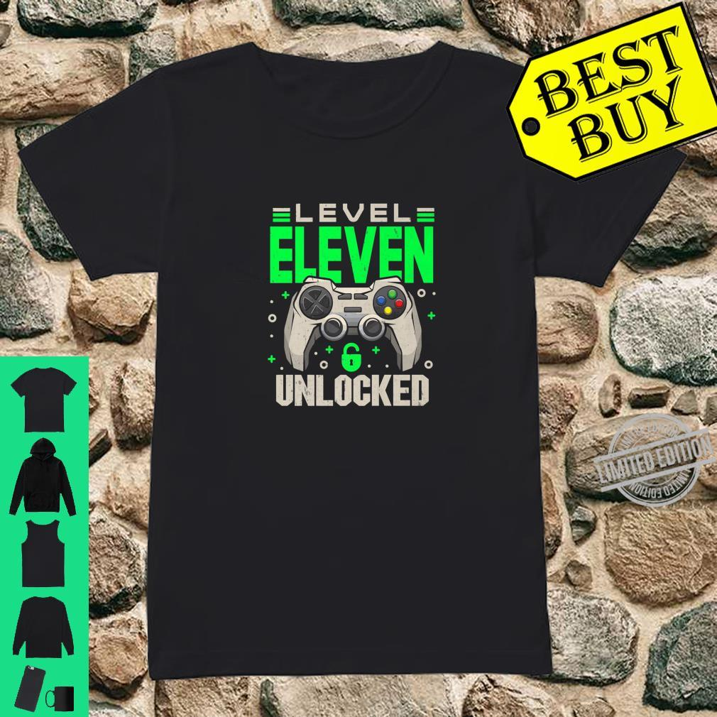 Level 11 Unlocked 11th Eleven Birthday Gamer Boys Shirt ladies tee