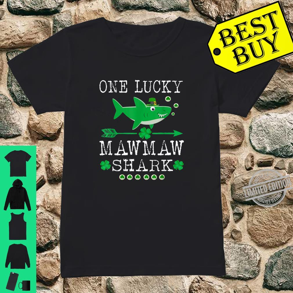 One Lucky Mawmaw Shark St Patrick Day Shirt ladies tee