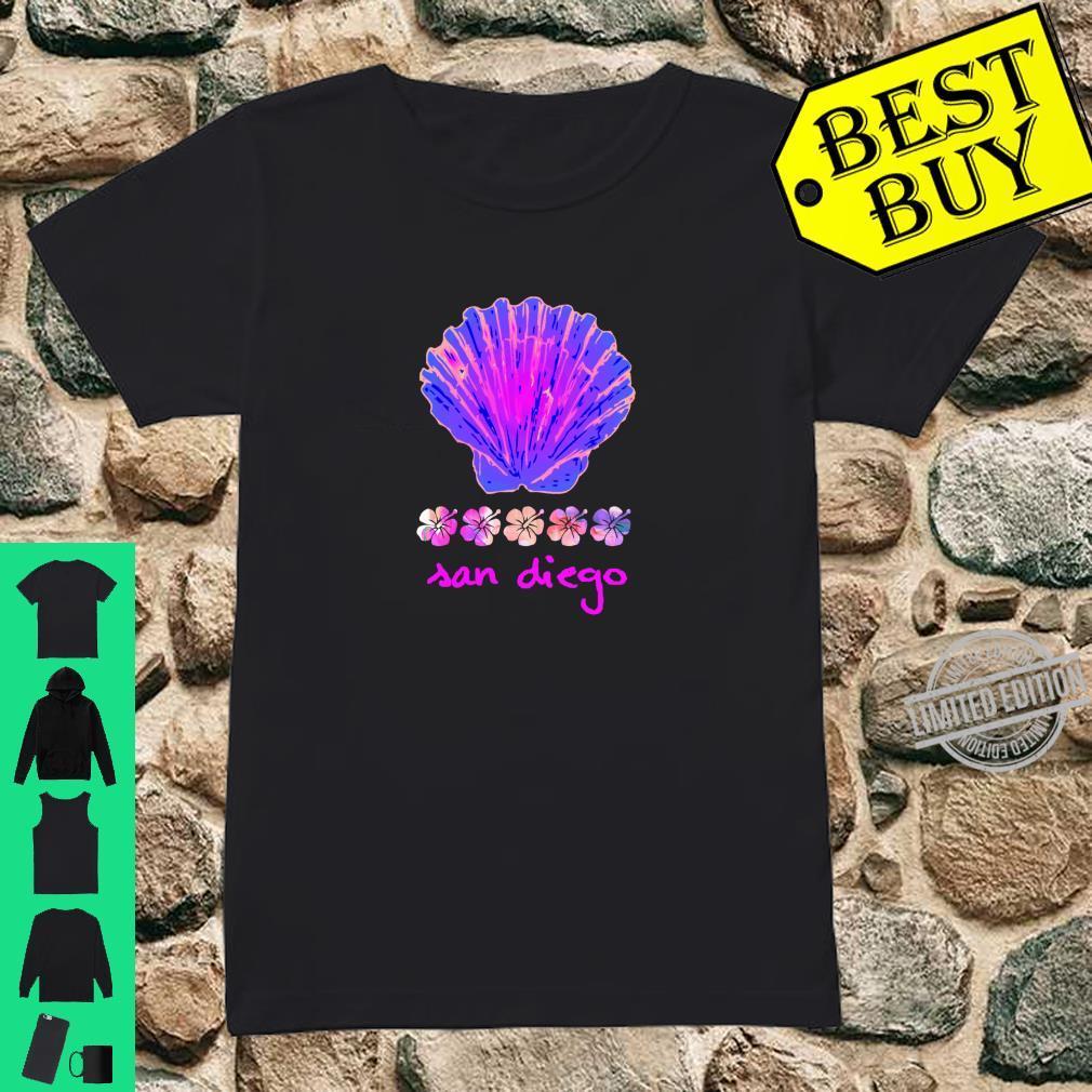 Santa Monica Beach Tropical Hibiscus Surf Ocean Travel Vacay Shirt ladies tee