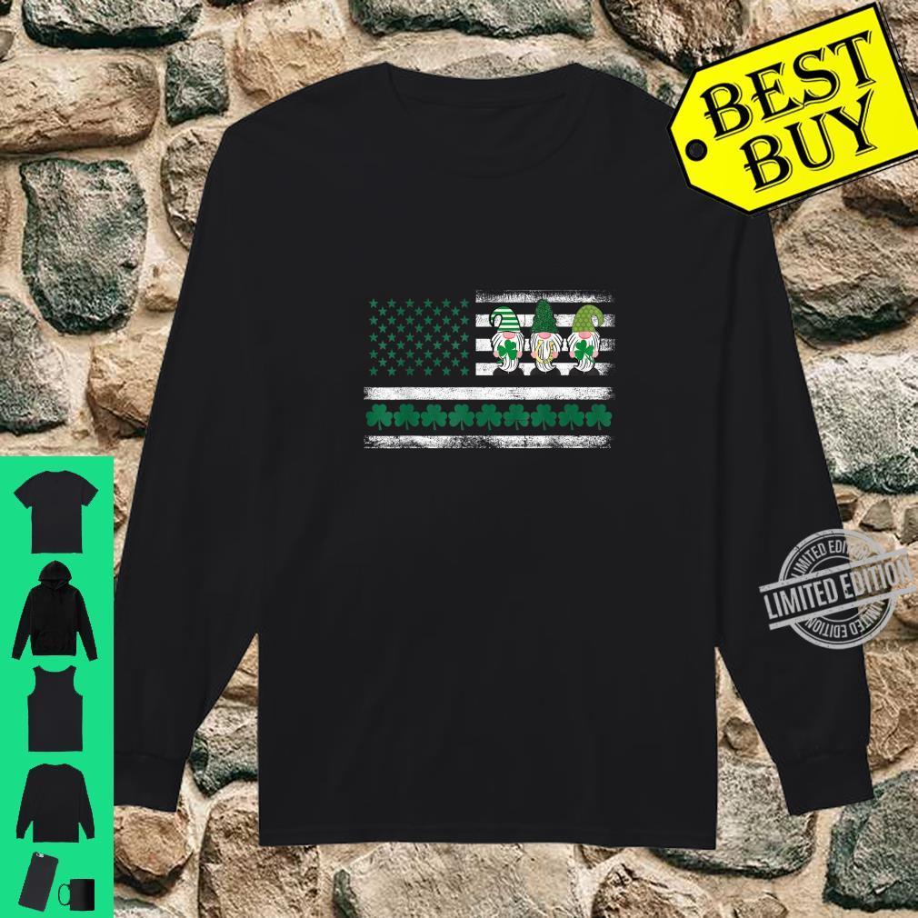 St. Patrick's Day Gnome Lucky Irish American Flag Shamrock Shirt long sleeved