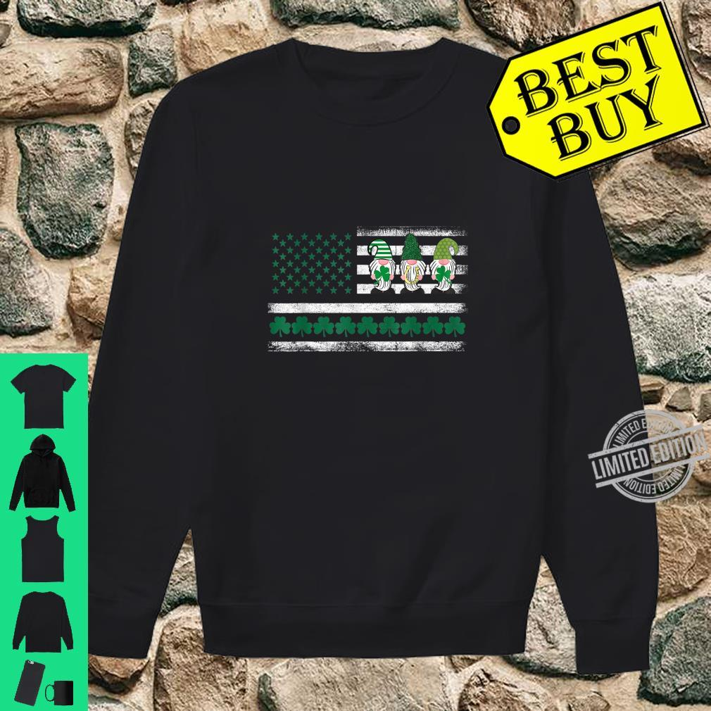 St. Patrick's Day Gnome Lucky Irish American Flag Shamrock Shirt sweater