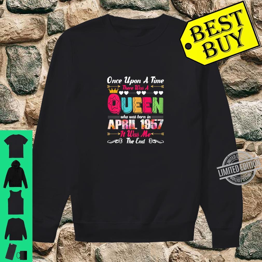Womens 63 Year Old Birthday Girls 63rd Birthday Queen April 1957 Shirt sweater